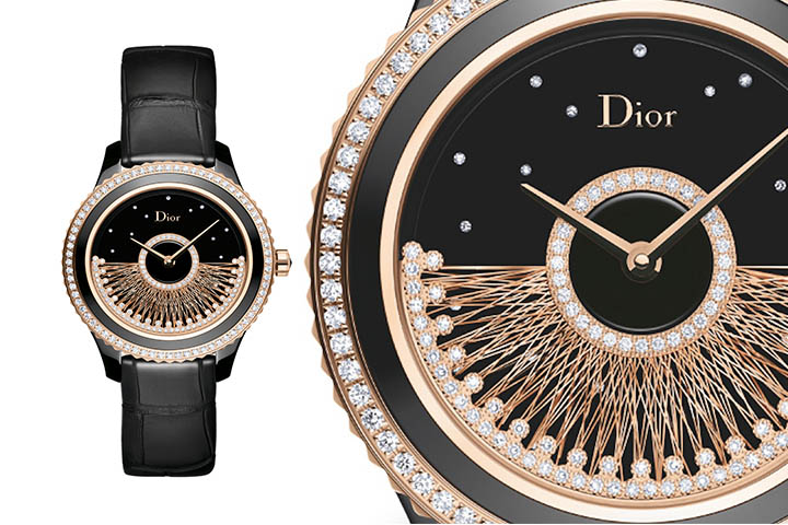 Luxury Replica Dior Gold and Black Watch For Women